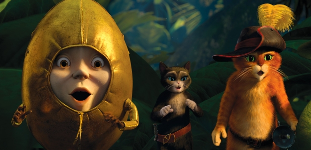 "In this image released by Paramount Pictures, from left, Humpty Dumpty, voiced by Zach Galifianakis, Kitty Softpaws, voiced by Salma Hayek, and Puss in Boots, voiced by Antonio Banderas, are shown in a scene from ""Puss in Boots."" (AP Photo/Paramount Pictures)"