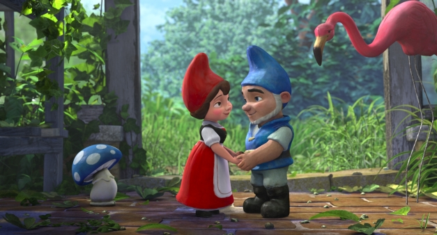 """GNOMEO AND JULIET"" (L-R) Shroom, Juliet, Gnomeo, Featherstone ©Miramax Film NY, LLC. All Rights Reserved."